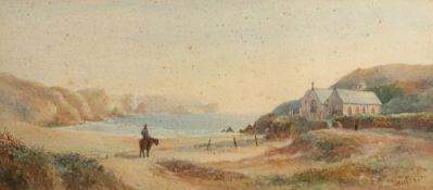 J Curen (British, 19th Century), A man on horseback in a coastal landscape,
