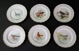 A set of six Royal Worcester plates, individually painted with birds, by W Powell,
