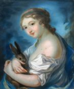French School, 18th Century A portrait of a lady in a white dress, with a blue shawl,