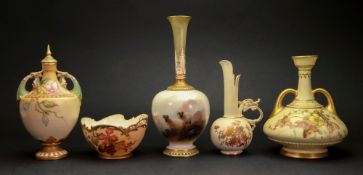 A collection of five pieces of Royal Worcester, a vase, shape no.