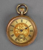 An 18ct gold cased open face fob watch, the floral engraved dial with Roman numerals,