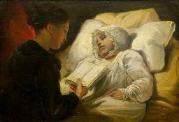 Edward Bird (British, 1772-1819), A mother reading to a sleeping child,