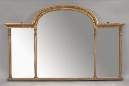 A George III style giltwood and gesso frame triple plate overmantel mirror, 19th century,