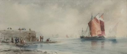 Follower of Thomas Bush Hardy (British, 1842-1897), Shipping outside a harbour,