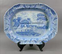 A Spode blue and white meat plate, 19th century,