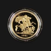 1981 Proof gold five pounds, 39.94gms, cased.