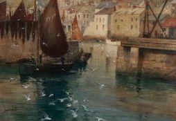 James Scrimgeour Mann (British, 1883-1946), Leaving Polperro Harbour, Cornwall,