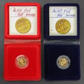 1980 & 1982 Proof half sovereigns, cased (2).