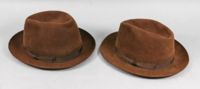 Two Lock & Co brown suede trilby hats, size 7 ¼ and 7 ⅛, one with intials 'RJW',