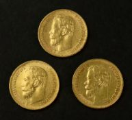A Russian five ruble coin, 1898, together with two others, 1898 and 1899, 12.8g combined, (3).