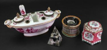 A French porcelain inkstand, with gilt metal mounts, late 19th century,