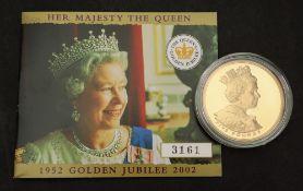Elizabeth II 2002 gold proof Golden Jubilee Crown five pounds, 39.94gms, with certification.