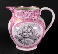 A Sunderland lustre baluster jug, early 19th century, printed to the centre with Sir R. Peel, Bart.