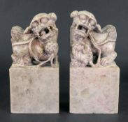 A pair of Chinese soapstone groups of Buddhist lions, the male with a brocade ball,