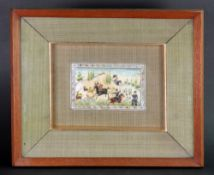 A group of eight Persian miniatures, 20th century, mostly hunting subjects, mounted in four frames,