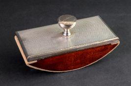 An Art Deco silver mounted engine turned rocker blotter, Mappin & Webb, Birmingham 1937, 16 x 7.