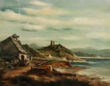English School, 19th Century, Cottages and ruins in a coastal landscape,