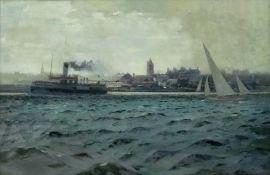 James Scrimgeour Mann (British, 1883-1946), Crossing the Mersey, oil, 53 x 75.5cm.