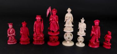 A group of eight Chinese carved ivory chess pieces, 19th century, six stained red and two natural,