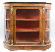 A Victorian figured walnut tulipwood crossbanded boxwood strung gilt metal mounted credenza,
