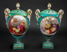 A pair of Royal Worcester two handled pot pourri vases and pierced covers, circa 1865,