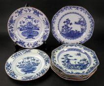 A pair of Chinese blue and white Export porcelain plates, Qianlong,