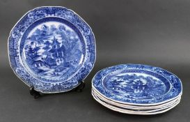 A set of six pearlware dinner plates, early 19th century,