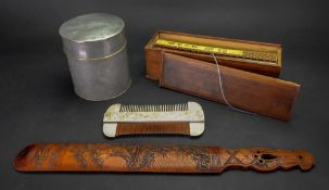 A group of various Chinese works of art, 19th/20th century, comprising; a carved wood page turner,