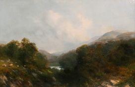 English School, 19th Century, Sheep in a mountainous landscape,