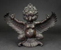 A Tibetan stye bronze figure of Garuda, 20th century,