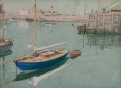 James Scrimgeour Mann (British, 1883-1946), Boats in a harbour, watercolour heightened with white,