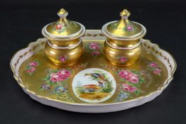 A continental porcelain gilt ground inkstand, French or German, early 20th century,
