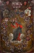 Spanish School, 18th Century, The Virgin Mary surrounded by fifteen scenes from the life of Christ,