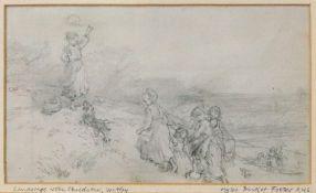 Follower of Myles Birket Foster (British, 1825-1899), Landscape with children, Witley,