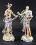 A pair of German porcelain figurines, circa 1900, emblematic of the arts, 20.5cm high (2).