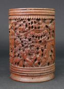 A Chinese bamboo brush pot, late 19th/20th century,