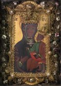A painted and gilt metal Icon of Christ and the Virgin Mary, 15.5 x 11.5cm.