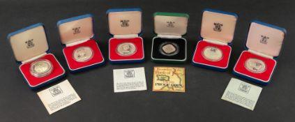 1981 Jersey silver one pound, 1977 Jersey silver twenty five pence, 1978 Guernsey silver crown,