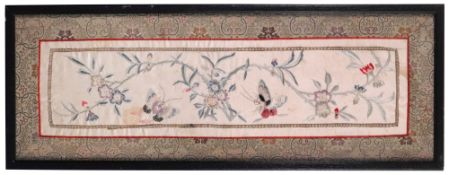 A Chinese rectangular silk sleeve panel, early 20th century,