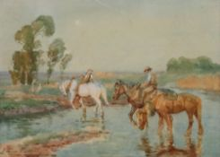 William Evans Linton (British, 1878-1941), Figures on horseback crossing a river,