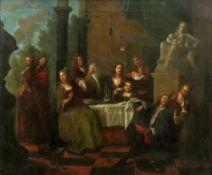 European School, 18th Century, Men, women and children dining in an interior, oil on canvas,