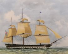 A group of four colour prints of square rigged ships, each 37.5 x 48.5cm (4).
