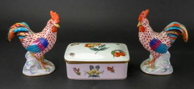 A Herend rectangular box and cover, painted with flowers and fruits,