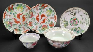 A group of Chinese famille-rose porcelains, late 19th/20th century, comprising; a bowl,