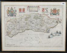 SUSSEX - [Johannes BLAEU (1596-1673)]. Suthsexia, vernacule Sussex. [Amsterdam: c. 1645 or later].
