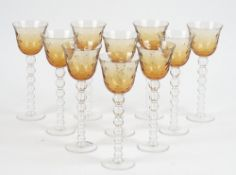 A set of ten of St Louis Crystal wine glasses,