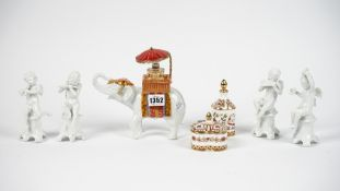 A Royal Crown Derby porcelain scent bottle and stopper decorated in the 'Honeysuckle' pattern,