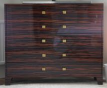 A modern coromandel chest, with five long drawers, 120cm wide x 100cm high.