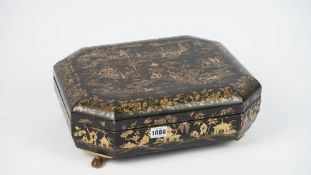 A 19th century Cantonese export lacquer box, chinoiserie decorated,