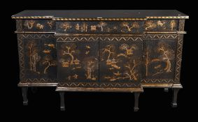 An 18th century style chinoiserie decorated breakfront sideboard,